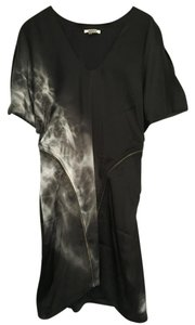 Helmut Lang Vintage Zipper Print Silk Dress