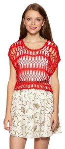 Anthropologie Crop Open Knit Top RED