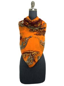 Hermès Hermes Giant Silk Mousseline Chiffon Guepards GM Shawl Scarf