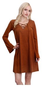 Bohemian Lace Up Suede Gypsy Dress