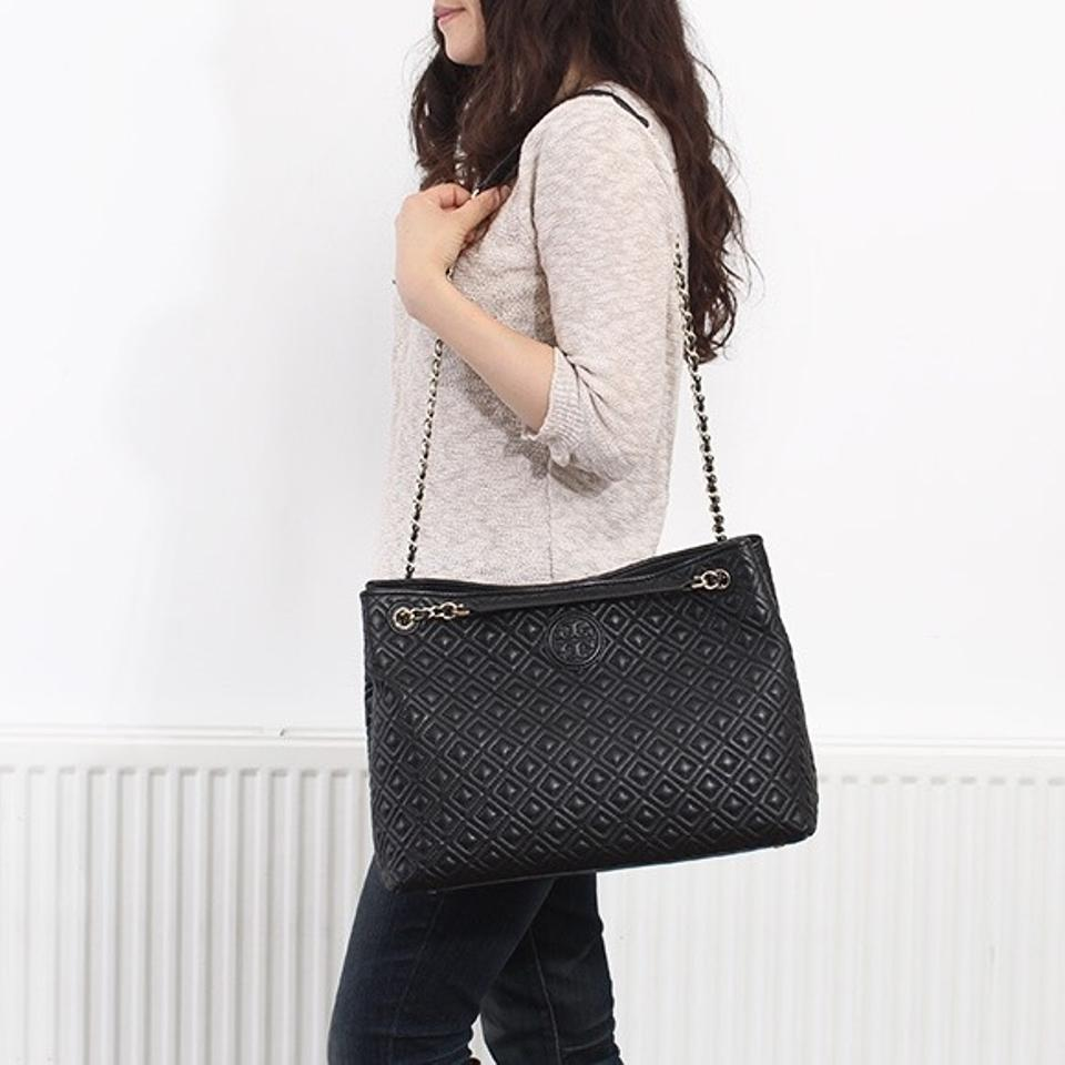 Tory Burch Marion Quilted Chain Shoulder Black Tote Tradesy