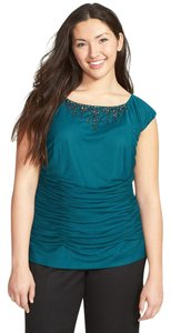 Adrianna Papell Ruched Jewel Embellishments Top Hunter Green