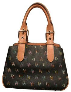 Dooney & Bourke Burke Purse Satchel in Black w/ multicolored DB