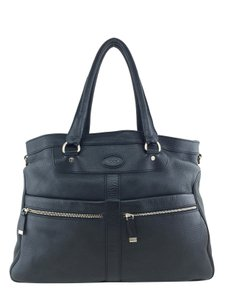 Tod's Silver Hardware Logo Tote in Black