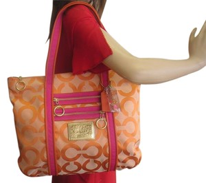 Coach Tote in orange and pink