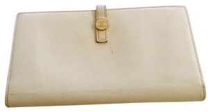 Chanel Cream two sides fold Long Wallet