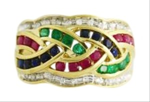Other Vintage Sapphire, Ruby, Emerald Cocktail Ring- 14k Gold Vintage
