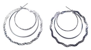 Sterling Silver Filled Large Hoop Earrings Layered J2886