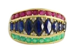 Other Antique Sapphire Ruby Emerald Ring- 14k Gold Gemstone Jewelry