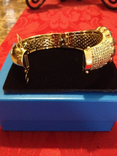 AKKAD Gold Tone Black Crystal Bangle Bracelet