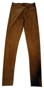 Adrienne Vittadini Pull On Faux Suede Solid Cognac Brown Leggings