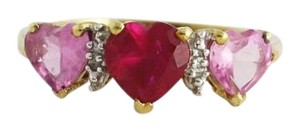 Pink Ruby, Sapphire, Diamond Heart Ring- 10k Gold, Gemstone Jewelry