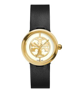 Tory Burch REVA WATCH, BLACK LEATHER/GOLD-TONE, 28 MM