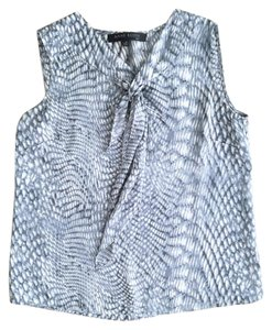Anne Klein Sleeveless Polyester Classic Comfortable Top Grey Blue