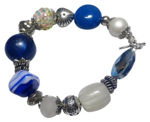 Other New Blue Silver Glass Bracelet J2888