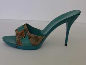 Gucci Heels turquoise and brown Sandals