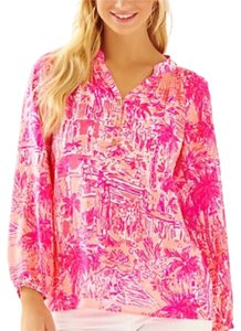 Lilly Pulitzer Elsa Silk Top Pink multi as seen