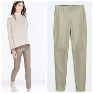 Zara Leather Leggings Vegan Skinny Pants Tan