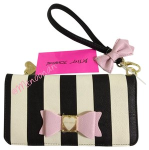 Betsey Johnson Multi Compartment Striped Wristlet