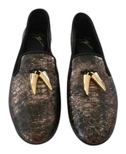 Giuseppe Zanotti Luxurious Soft Metallic Wash Reptile Embossed Made In Italy Antracite/Gold Flats