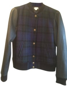 J.Crew Plaid Faux Leather Sleeves blue/black Jacket