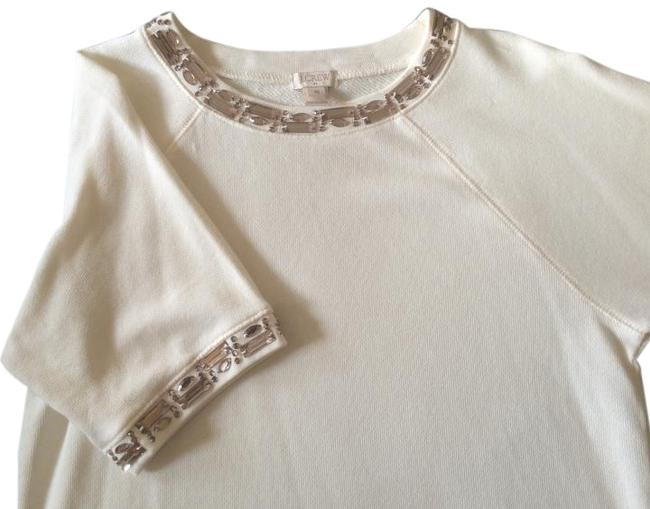 Item - Cream with Silver/Grey Stones Crystal Embellished Cotton-terry Sweatshirt/Hoodie Size 8 (M)