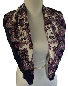 SunKgungSa Navy Blue Scarf Square with Multicolor Pattern