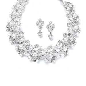 Mariell Bold Pearl Vine Wedding Choker Necklace Set