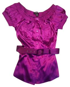 bebe Button Down Shirt Purple