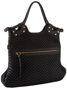 Pietro Alessandro Chevron Edgy Leather Foldover Cross Body Bag