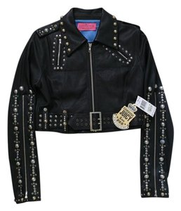Juicy Couture Juicy Cropped Moto Studded Motorcycle Jacket