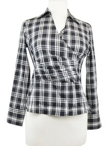 Talbots Plaid Wrap Tartan Fall Top Black and White
