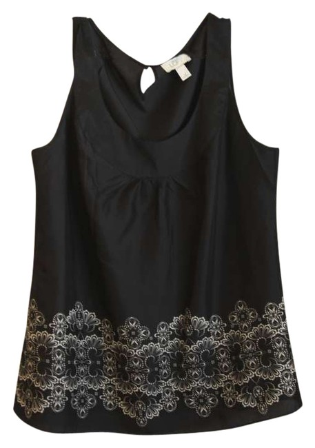 Preload https://img-static.tradesy.com/item/194492/ann-taylor-loft-black-with-ivory-design-tank-topcami-size-12-l-0-0-650-650.jpg