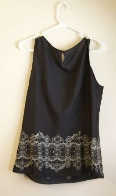 Ann Taylor LOFT Top Black with Ivory Design