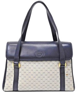 Gucci Excellent Condition Xl & Roomy 2 Strap/envelope Top Multiple Compartment Popular Early Style Satchel in navy blue small G print coated canvas and navy leather