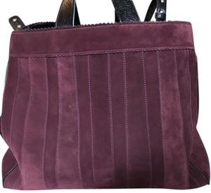 Tamara Mellon Leather Calf Suede Tote in Burgundy