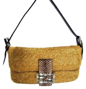 Fendi Wicker Straw Palladium Clutch Snake Leather Baguette