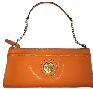 Kate Landry Gold Hardware Orange Patent Clutch