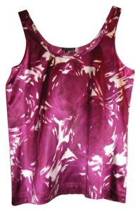 Theory Silk Abstract Painted Top Magenta pink and white