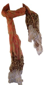 Coral and Brown Leopard Print Sheer Scarf