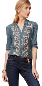 Anthropologie Embroidered Button Down Top Green