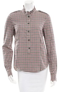 Isabel Marant Ruffles Long Sleeves Plaid Button Down Shirt Burgundy