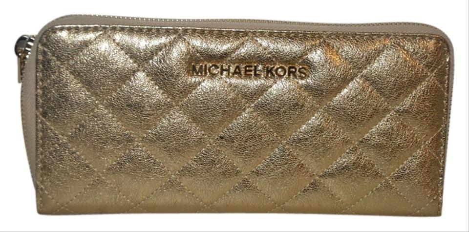 nwt-michael-kors-susannah-zip-around-continental-wallet-pale-gold-clutch-bag