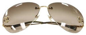 Chanel Chanel 2016 4108-B Gold Gradient Luxury Sunglasses Swarovski Aviators