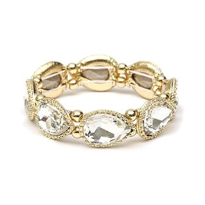 Mariell Gold Textured Frame Crystal Pears Stretch Bracelet