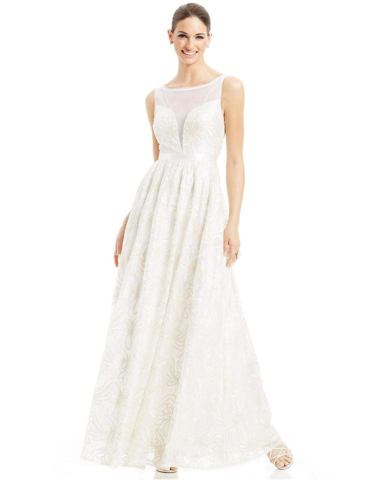 ee51554fe767 Adrianna Papell Ivory Sleeveless Illusion Sequin-lace Gown Feminine Wedding  Dress Size 6 (S ...