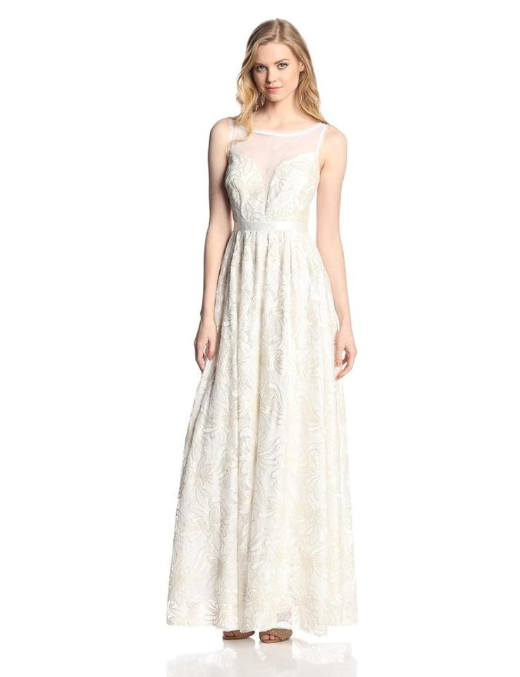 2778981282e6 Adrianna Papell Ivory Sleeveless Illusion Sequin-lace Gown Feminine Wedding  Dress Size 6 (S. 123456789101112