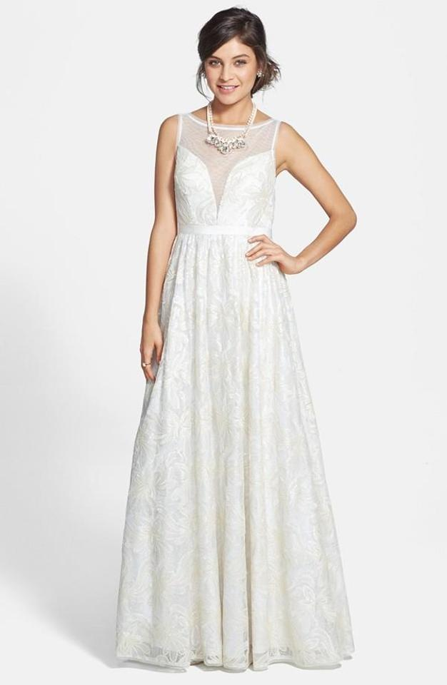Adrianna Papell Ivory Sleeveless Illusion Sequin-lace Gown ...