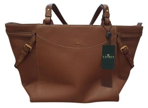Ralph Lauren Leather Gold Classy Tote in Brown