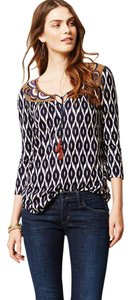 Anthropologie Embroidered Ikat Tassels Top Blue Multi